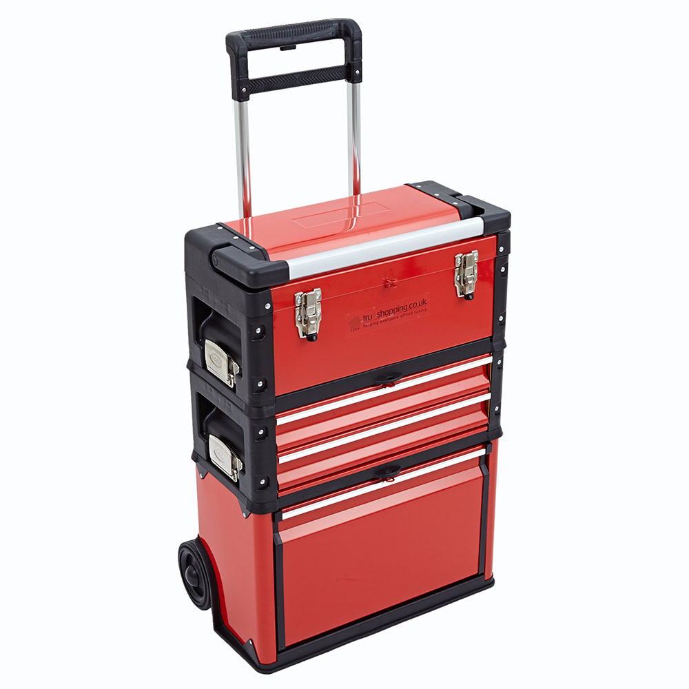3 in 1 trolley tool box set 4 drawers boxes storage cabinet portable wheel steel ebay. Black Bedroom Furniture Sets. Home Design Ideas